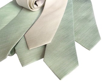 Linen Wedding Neckties. Set of 6 solid color linen ties. Groomsmen 10% discount. Silk & linen blend, select same or coordinating colors!