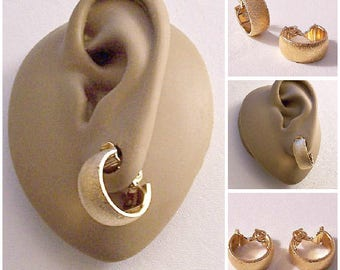 Monet Brushed Band Hoops Clip On Earrings Gold Tone Vintage Wedding Band Small Wide Open Round Dangles