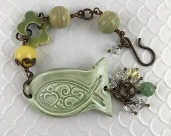 Assemblage Bracelet, Beaded Bracelet, Statement Bracelet, Fish Bracelet