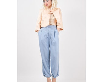 1940s pants / Vintage pale baby blue linen baggy fit pants / Menswear / Ladieswear / Button back tab waist / M L