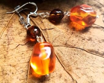 Amber stone drop earrings
