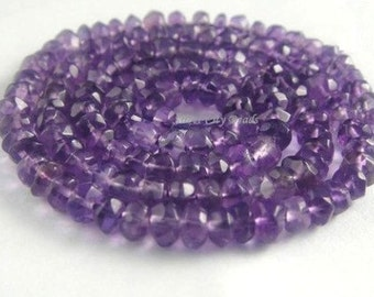 1 Strand- 4mm Amethyst Faceted Rondelles