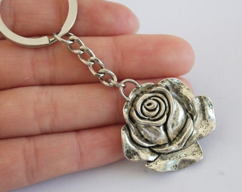 Ancient Silver Rose Flower Keychain, Rose Flower Keyring, Rose Charm Keychain, Rose Keyring