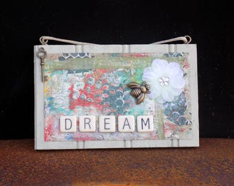 Bee-utiful Dream Original Mixed Media Art Plaque