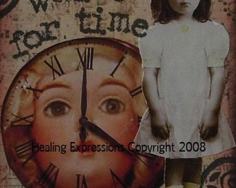 TIME TO HEAL altered art therapy child abuse recovery survivor grief inspirational collage vintage AcEO AtC PRiNT