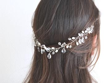 Wedding head jewelry. Pearls and crystals wedding tiara. Headband, Bridal Crown application