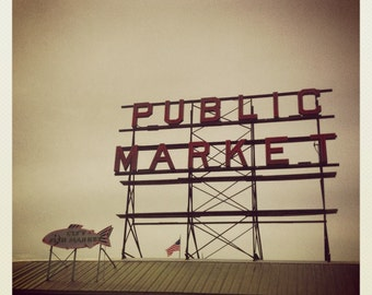 Pike Place Market photo, Pike Place Canvas, Pike Place print, square Seattle photo, 4x4, 6x6, 8x8, vintage look photo, Seattle Instagram