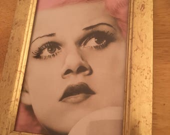 """Jean Harlow pink hair print in a gold frame 6x4"""""""