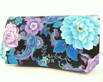 Coupon Organizer Budget Organizer Holder Cash Budget Coupon Wallet Attaches to your Shopping Cart  Blue Purple Rose Floral Select Your Size