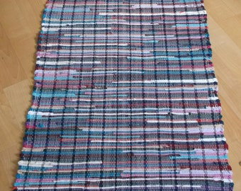 """72"""" x 27"""" Multi Colored Made from T Shirts Woven Rag Rug Hand Loomed New USA Made Machine Washable Free Shipping"""