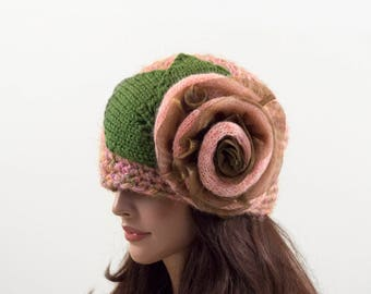 Crochet Beanie Hat with Large Flower, Pink and Green Tones, Size M/L