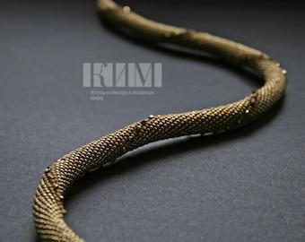 Bead Crochet Necklace Swarovski Crystals Gold