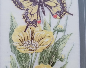 Vintage 1960's Cashs Woven Picture Swallow Tail, flowers fine silk