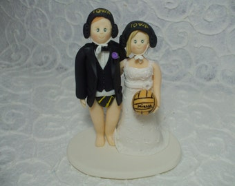 Personalized bride and groom water polo themed wedding cake topper
