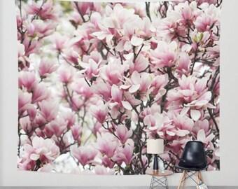 Magnolia, Wall Tapestry, Pink, Mauve,Floral, Modern Wall Art, Home Decor, Home Accessories, Bedroom Art,Unique Design,Interior Design,Spring