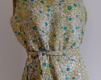 50s silk dress / novelty print bubbles dots dress / with original belt