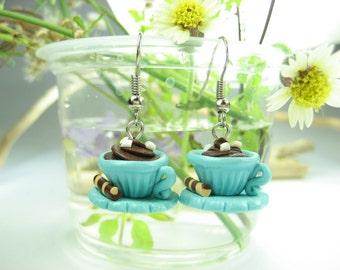 Hot Chocolate Cup Earrings - food jewelry food earrings polymer clay, kawaii earrings, cute earrings, blue earrings, teacup earrings