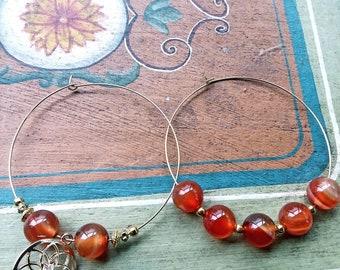 Mandala hoops with carnelian beads