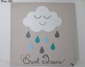 "Painting ""Sweet Dreams"" cloud and raindrops in blue felt"