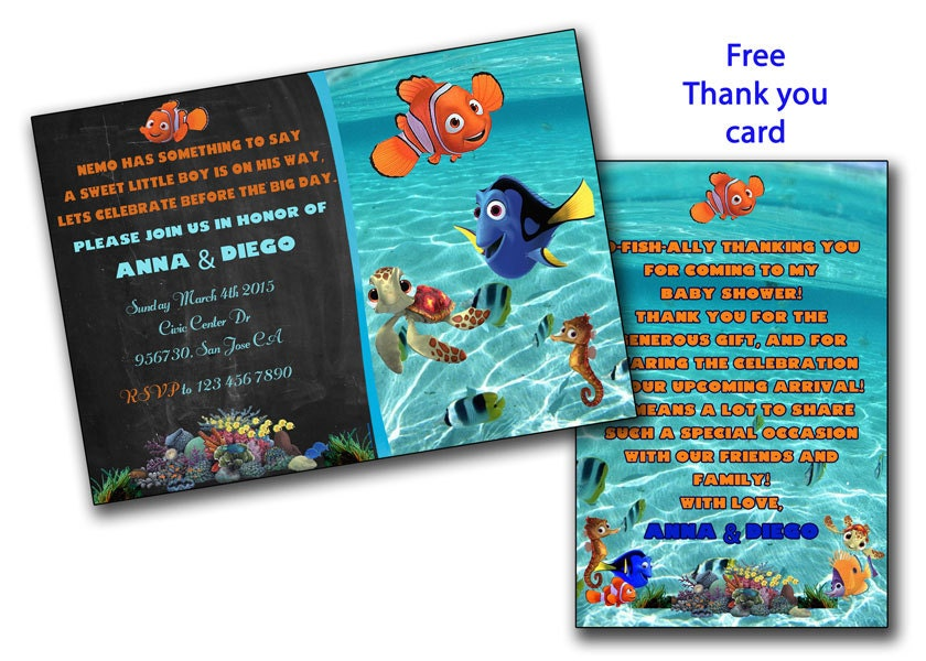Finding Nemo baby shower invitation Finding dory boy or girl