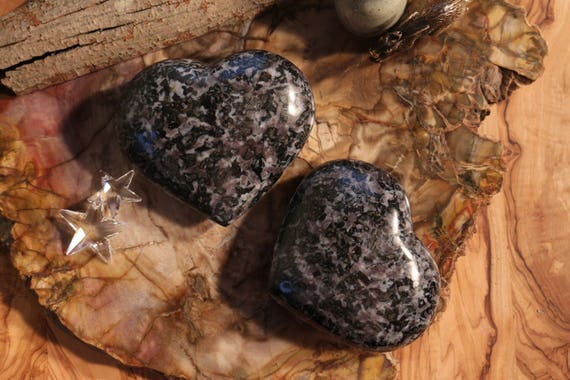 "XL Indigo Gabbro Heart 4"", 101mm, Heart Shaped Gabbro, Polished Indigo Gabbro, Gabbro Heart, XL Merlinite Heart, Heart Shaped Merlinte"
