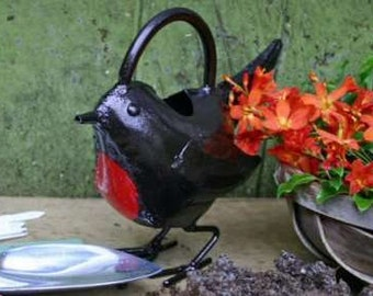 Red Robin metal watering can