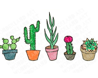 Cactus and Succulent clipart/ printable stickers