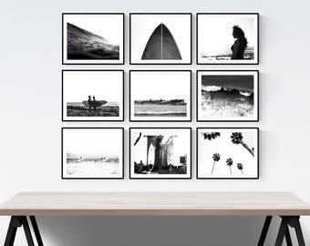 Black and White Set of 9 Surf Beach Decor Prints or Canvas, beach photos, , black and white, modern surf home decor, beach wall art