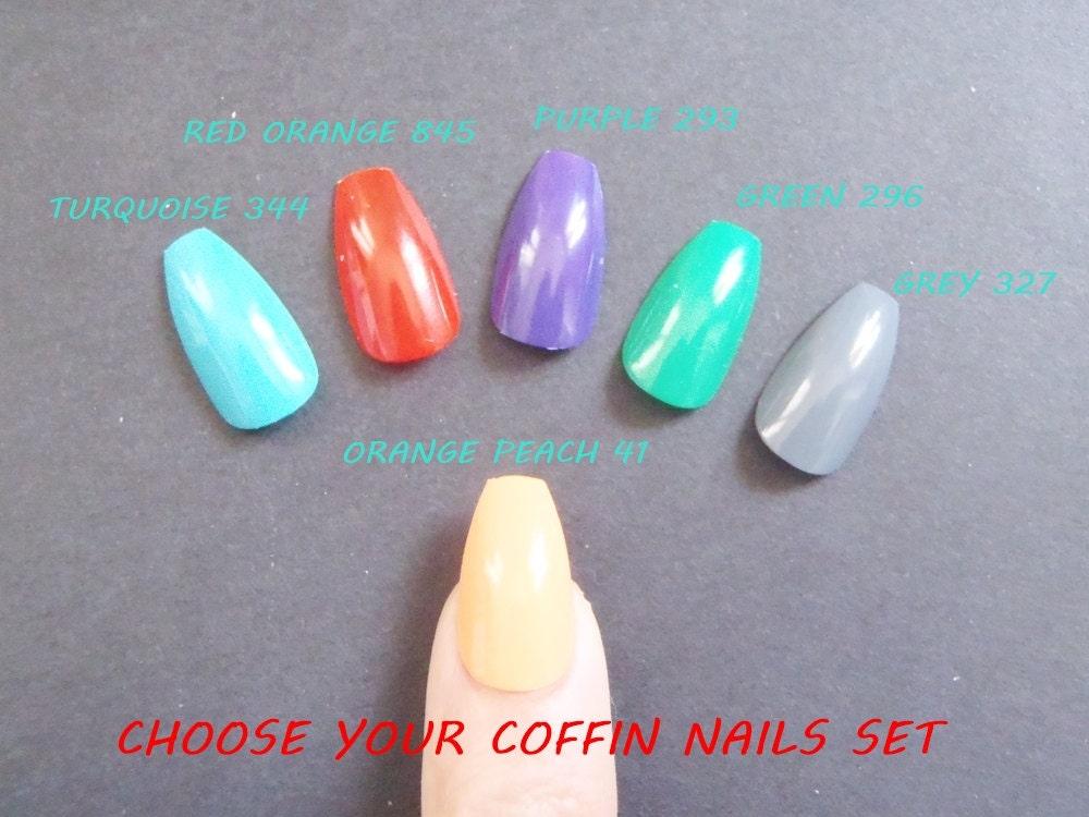 coffin false nails squarelettos bright color ballerina false