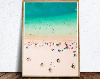 Aerial Beach print, Photography, Digital Download, Printable Beach, Beach Art Print, Modern Poster, Bird's View, Beach Wall Decor,