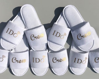 i do crew slippers, bridesmaid gift, personalised slippers, bachelorette slippers, Sister of the Groom, mother of the groom, slippers