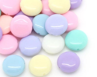 Pastel Coin Bead Mix - 12mm - 50 beads - #PA105
