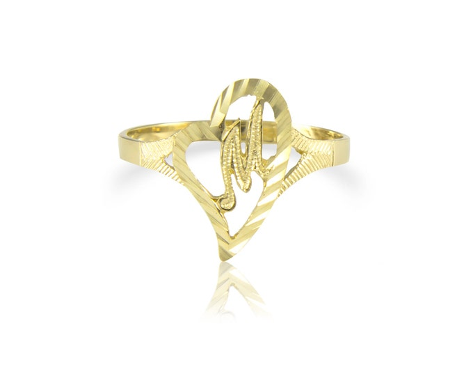 Featured listing image: 10K Solid Yellow Gold Heart Initial Letter Ring - A-Z Any Alphabet Love Band