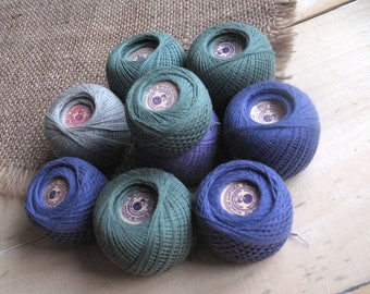 Cotton threads mix sewing Threads blue darning Threads green mending crochet Craft supply Threads creativity projects Lot  vintage balls