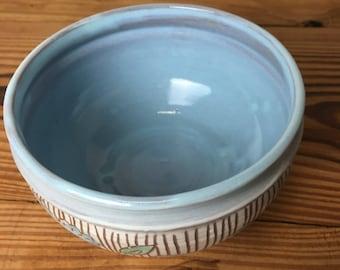 Carved Blue Flower Bowl