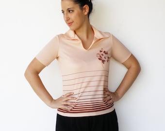 Vintage Peach Shirt / 1970s Peach Blossom Top / Size M L