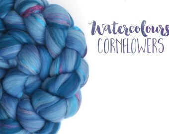 Blended top - roving - Merino wool - Mulberry silk - 100g - 3.5oz - Watercolour blends - CORNFLOWERS