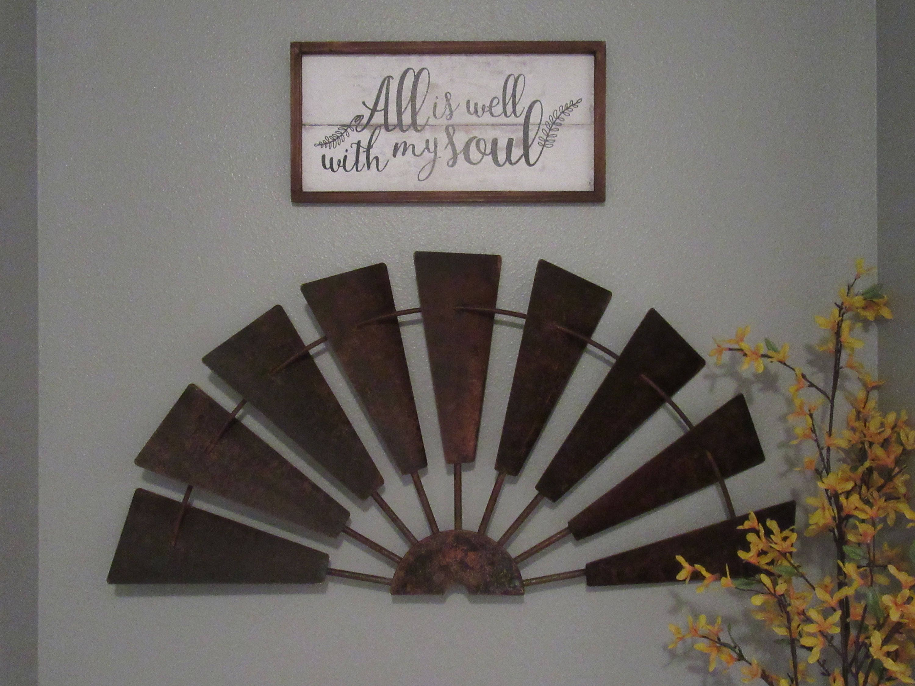 36 Rusty Half Windmill Wall Decor Vintage Inspired Rusty