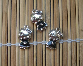 3 cats in silver metal charms