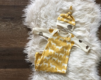 Newborn boy coming home outfit organic baby clothes take home outfit, deer, elk, hospital outfit, sleeper, sleep sack, hospital gown infant