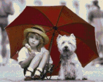 A girl and her Westie Cross Stitch pattern PDF - Instant Download!