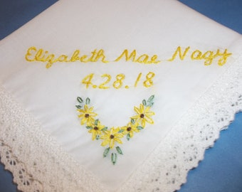 sunflower hanky, wedding handkerchief, sunflower gift, personalized, yellow and brown, hand embroidery, gift for bride, bridesmaid, birthday