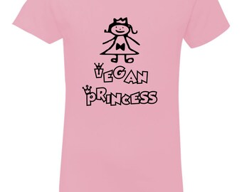 Vegan Princess Premium Feminine Cut Youth T-Shirt Shirt T-Shirt Youth T-Shirt Child T-Shirt Vegan Shirt Vegan Kids