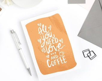Funny Valentine Card - Love and Coffee - Anniversary Wedding Engagement Card, Galentine Card, Coffee Addict, Valentine's gift