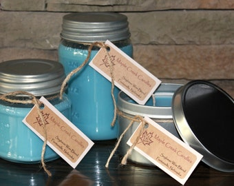 CRISP MOUNTAIN BREEZE type Maple Creek Candles ~ Great Scent Throw ~ Soy Wax Blend,  3 sizes, Fun Rustic Jar Lid