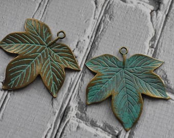 Antique Brass Verdigris Metal Leaf Charms- Boho Brass Maple Leaf Charms Blue Green Patina-  Antiqued Jewelry Supply- Set of 2