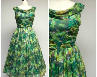 Vintage 1950s Dress • Springtime Joy • Green Watercolor Chiffon 50s Party Dress Size Small