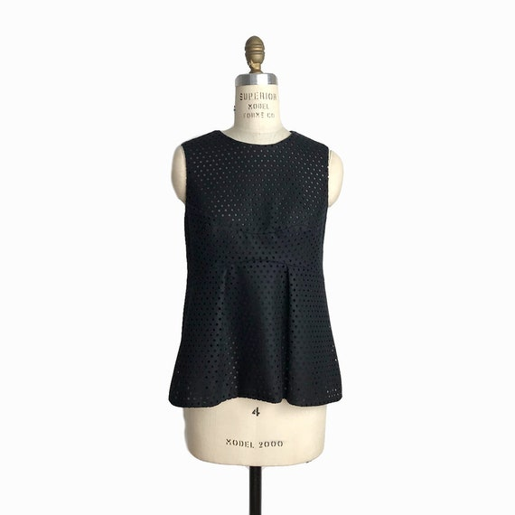 RACHEL COMEY Perforated Black Wool Top / Sleeveless Blouse - Size 2