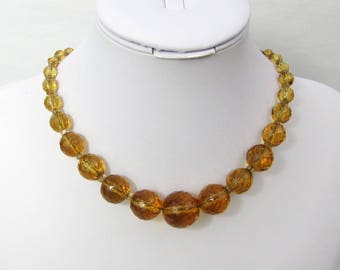 "Czech Amber Faceted Crystal Choker Necklace - 15.5"" graduated beads - Deco 20s-30s"