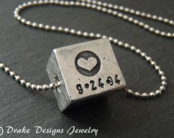 love cubed mom necklace personalized cube necklace with date mom gift Mothers Day gifts